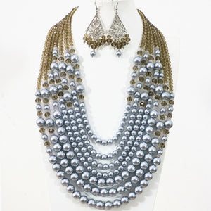 Silver-gray 7 rows necklace earrings round shell simulated-pearl crystal beads jewelry set