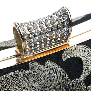Vintage Embroidery Clutch Diamonds with Chain Shoulder Purse  Evening Bag - Shop at GlamoRight.Com