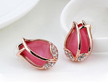 Zirconi Rose Gold Color Crystal Tulip Flower Pink Opal Earrings - Shop at GlamoRight.Com