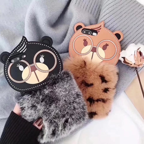 Fur Cat Case for iPhone X 8 6 6S 6Plus 7 8 Plus Big Eye Cat Fluffy Fur