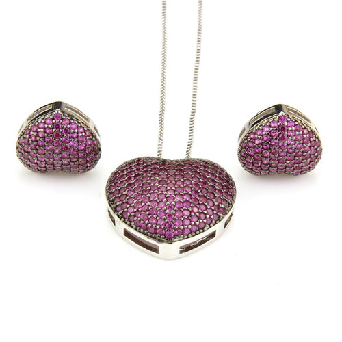 Copper Love Heart Multicolor Cubic Zirconia Stud Earrings And Pendant Necklaces