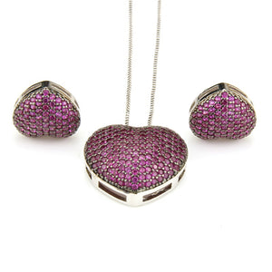 Copper Love Heart Multicolor Cubic Zirconia Stud Earrings And Pendant Necklaces - Shop at GlamoRight.Com