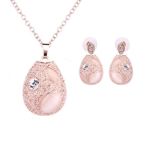 Elegant Oval Cat's Eye Stone Necklace Earrings Sets