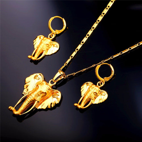 Cute Elephant Earrings And Necklace Jewelry Sets