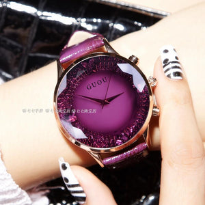 Rhinestone Waterproof Women's Watch Genuine Leather