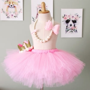 Cake Smash Outfit - First Birthday Pink Tutu Bundle