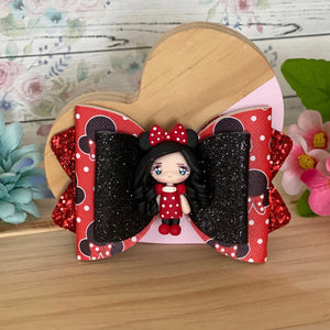 Chloe Big Bow - Mini Girl in Red w/ Polka Dots