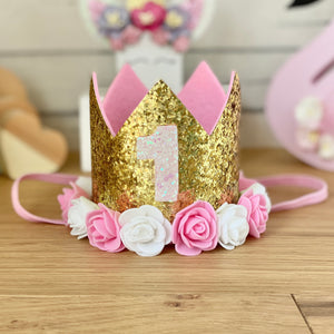 1st Birthday Crown with Flowers - Gold 1