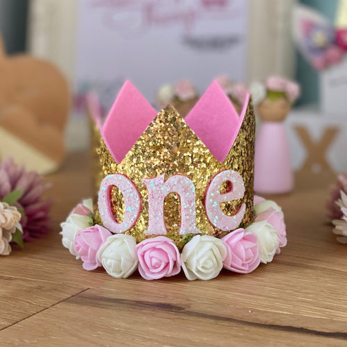 1st Birthday Crown with Flowers - Gold ONE