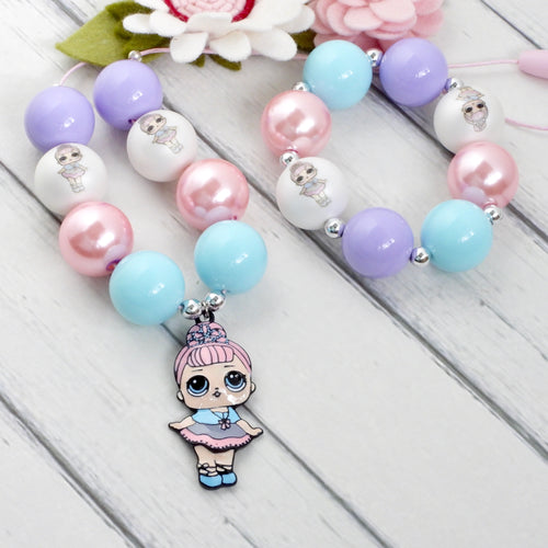 Bubblegum Necklace and Bracelet Set - LOL Crystal Queen