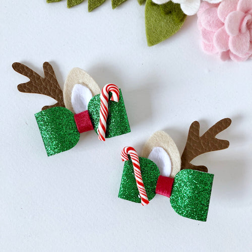 Christmas Piggytail Bow - Raindeer Antlers in Green