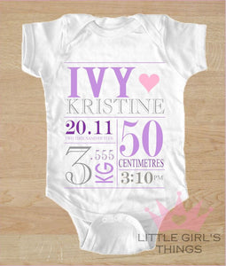 Birth Announcement - Purple and Grey