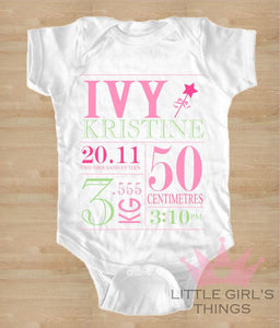 Birth Announcement - Pink and Green