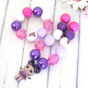Bubblegum Necklace and Bracelet Set - LOL Hoops