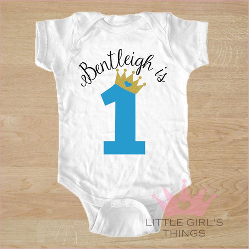 1st Birthday Onesie -  Personalised Boy Birthday with Crown