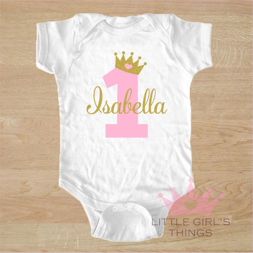 1st Birthday Onesie - Personalized Pink and Gold Glitter