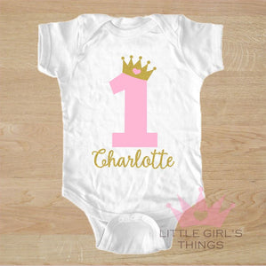 1st Birthday Onesie -  Personalised Birthday Crown