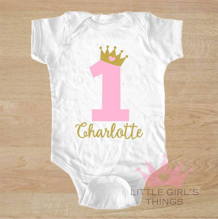 1st Birthday Onesie -  Personalized Birthday Crown