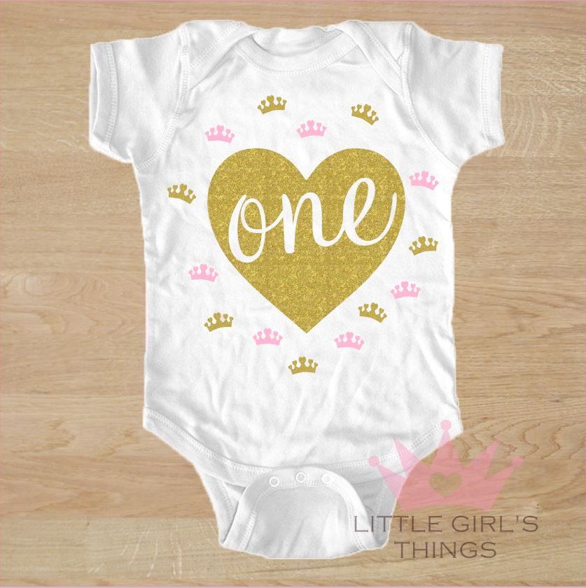 1st Birthday Onesie -  Birthday Heart One