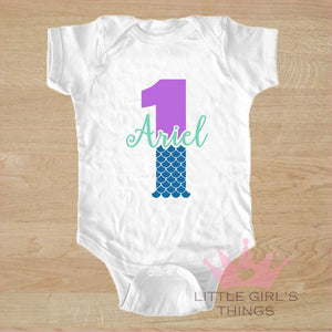 1st Birthday Onesie -  Personalized Mermaid One
