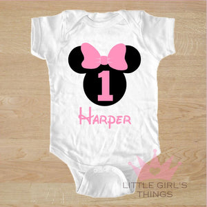 1st Birthday Onesie -  Personalized Mini Black and Pink