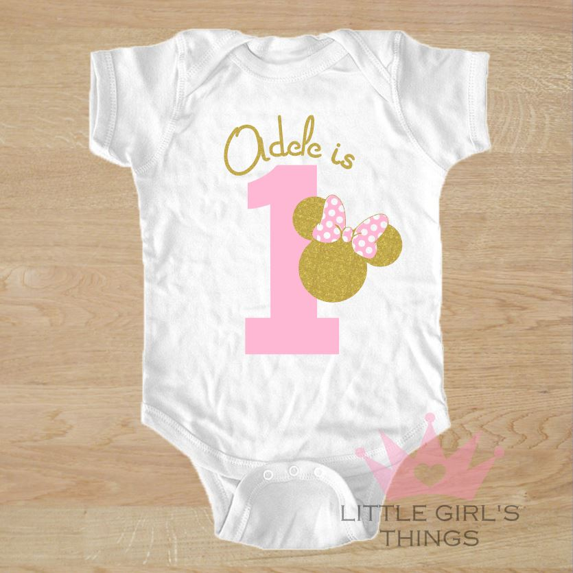 1st Birthday Onesie -  Personalized Pink and Gold