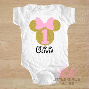 1st Birthday Onesie -  Personalized Mini Pink and Gold