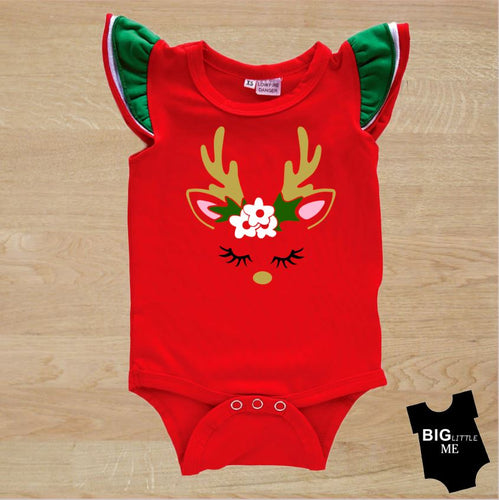 Christmas Flutter Onesie - Deer Face Red