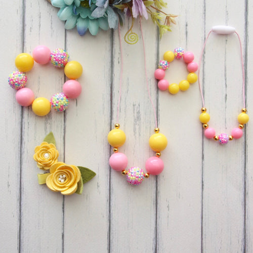 Necklace and Bracelet Sets in Pink and Yellow