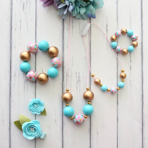 Necklace and Bracelet Sets in Aqua and Gold