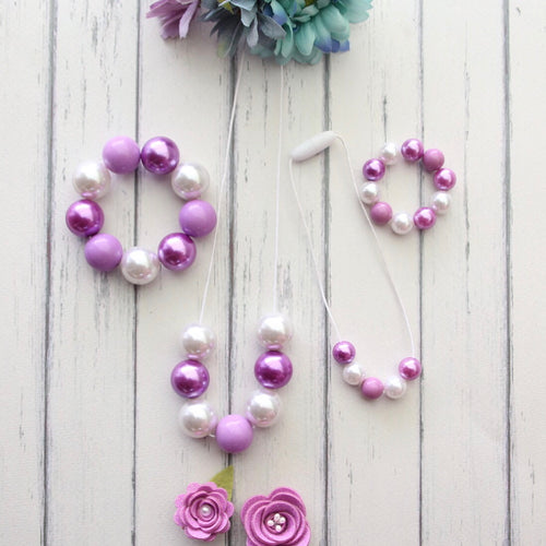 Necklace and Bracelet Sets in Purple and White