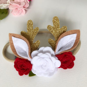 Christmas Headband - Gold Deer Antlers