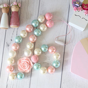 Bubblegum Necklace and Bracelet Set in Pale Pink, Mint and Cream