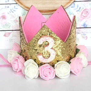3rd Birthday Crown with Flowers