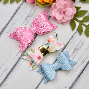 Ella, Taylor and Olivia Bow Set - Pink, Blue Mix
