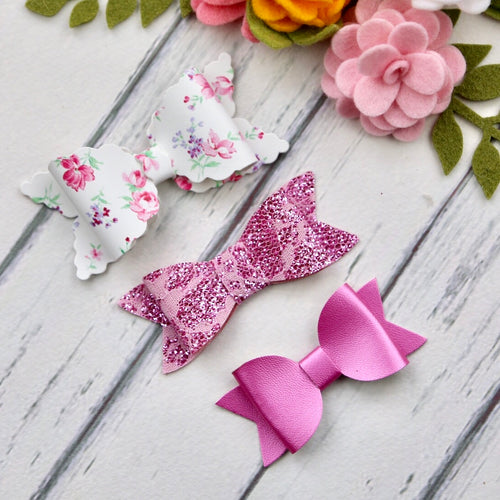 Ella, Taylor and Olivia Bow Set - Hot Pink