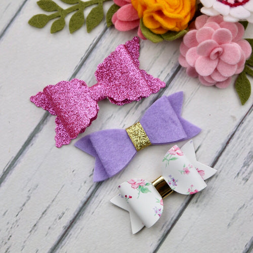 Ella, Taylor and Olivia Bow Set - Pink, Purple Mix