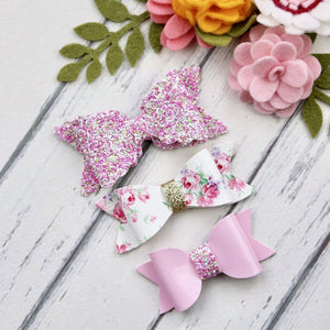 Ella, Taylor and Olivia Bow Set - Pink Sprinkles