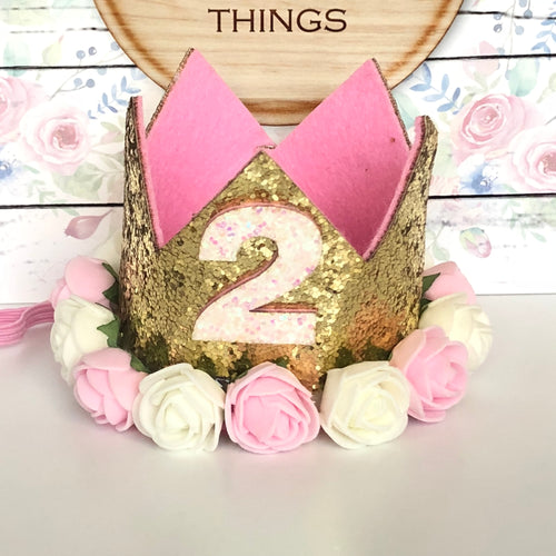 2nd Birthday Crown with Flowers
