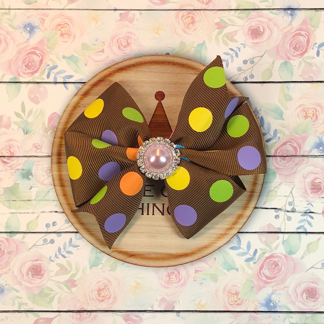 Pinwheel Ribbon Bow - Polka Dots on Chocolate