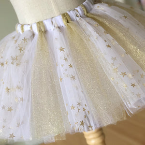 White, Stars and Gold Glitter Tutu