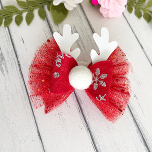 Christmas Bow - Red tulle Deer