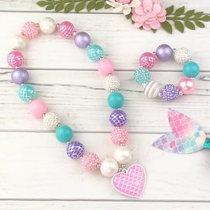 Bubblegum Necklace and Bracelet Set - Pink Mermaid Heart
