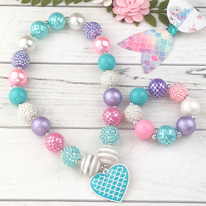 Bubblegum Necklace and Bracelet Set - Blue Mermaid Heart