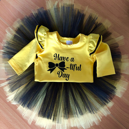 Yellow and Black - Bow Tutu and Top