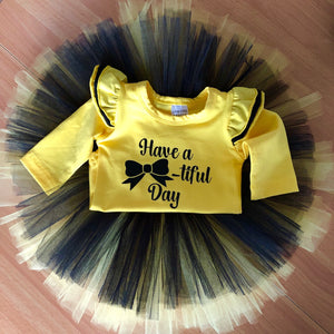 Yellow Flutter - Bow Bodysuit/Tee