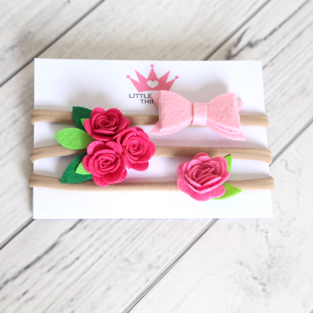 Flowers and Bow Triple Pack