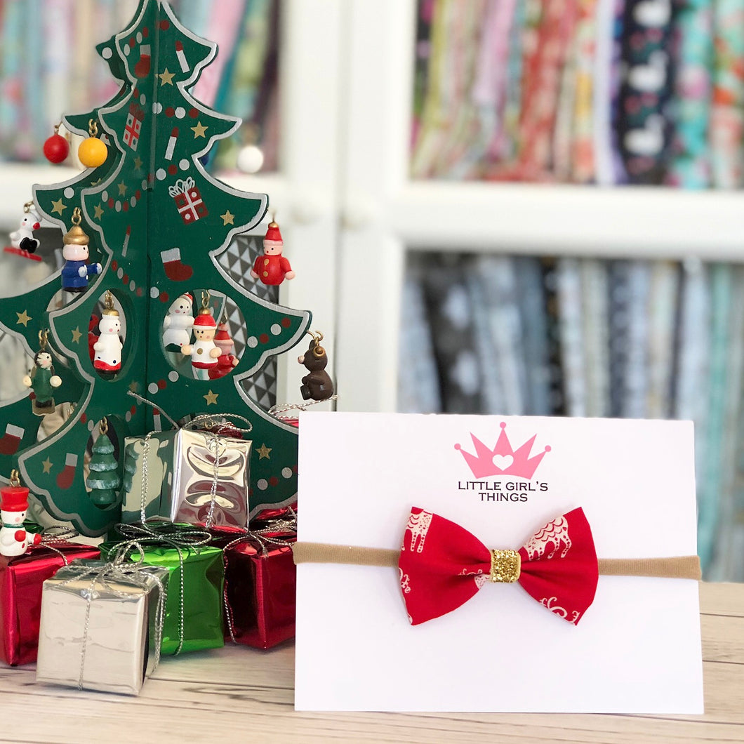 Merry Deer Mini Fabric Bow