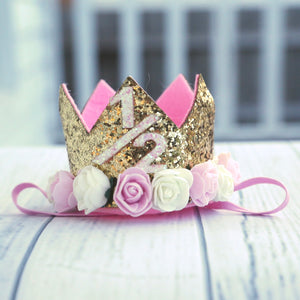 1/2 Birthday Crown with Flowers