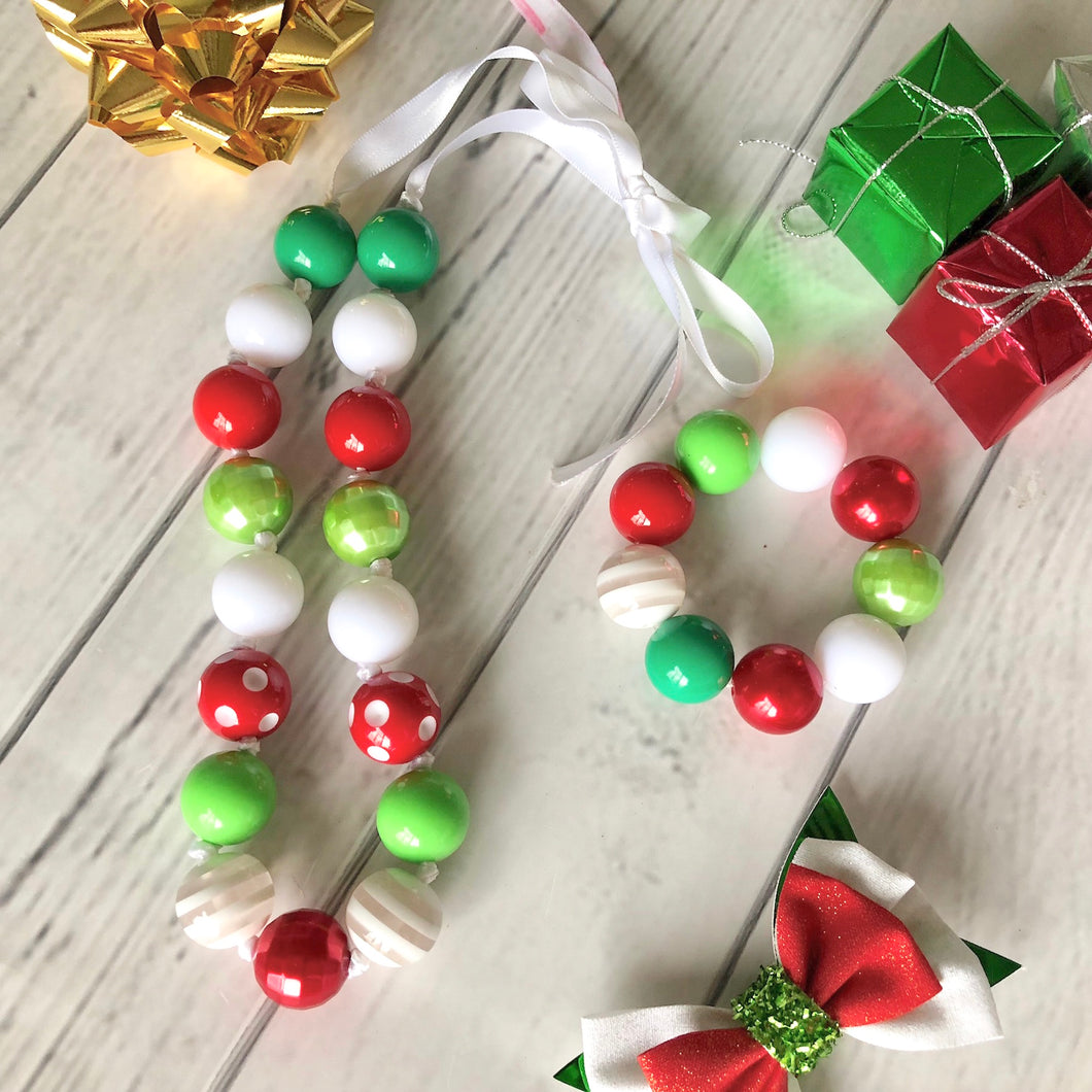 Christmas Necklace and Bracelet Set - Red Dots and White Stripes